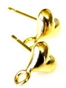 10pr gold plated heart earring studs