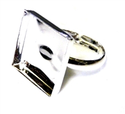 2pc silver plated 15mm square setting ring