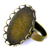 2pc antique brass lace edge ring setting 25x18mm