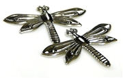 2pc silver plated large dragonfly charm