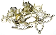 5pc silver plated assorted rhinestone settings