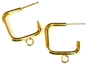 1pr gold plated square earring wires