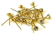 4pr rhinestone earring studs gold plated 4mm