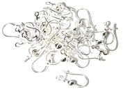 5pr Hinged Earring Wires with Clip Silver Plated