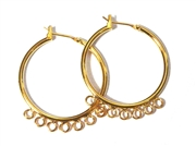 1pr Hoop Earring wires Gold Plated 7 Hole