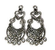 1pr Antique Silver Hinged Flower Earring Drops 38x18mm