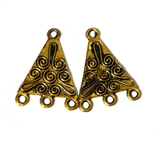 1pr Antique Gold Triangle Swirl 3 Strand Drops 22x18mm
