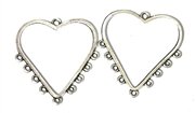 1pr Antique Silver Heart Drop 32mm 9 Hole
