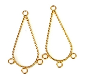 1pr gold plated twisted teardrop chandilier earrings 3 hole