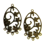 1pr antique brass oval etched chandilier earring drops 42x26mm