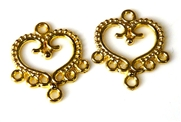 1pr gold plated heart chandilier drops 31x32mm