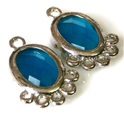 1pr blue faceted resin drops silver oval  21x14mm