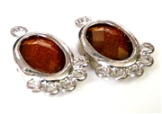 1pr brown faceted resin drops silver oval 21x14mm