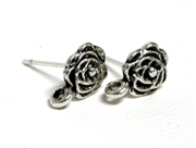 1pr Silver Plated Rose Earring Studs