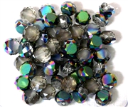 12pc Faceted Crystal Rounds 8x5mm Black Diamond Rainbow