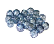 10pc 8mm diagonal cubes luster blue czech glass