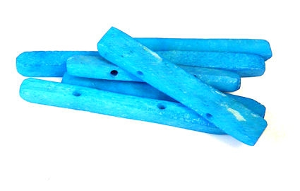 2pc double drilled rectangles aqua