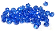 25pc czech glass firepolish rounds luster blue 6mm