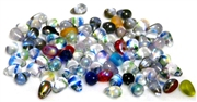 30pc czech glass teardrops stripe colour mix 6x3mm