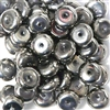 15pc 10mm Silver Metallic Glass Rondelles