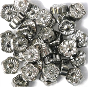 10pc 10mm Silver Glass Flower Beads