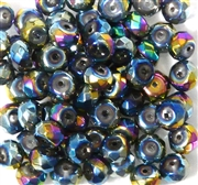 20pc 6mm Peacock Silver Faceted Glass Rondelles