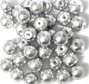 10pc 8mm Glass Pearls Silver