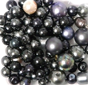 10pc 6-8mm Glass Pearls Silver Black Mix