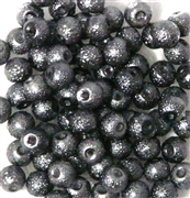 25pc 6mm Glass Sugar Pearls Black