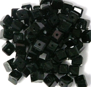 10pc 6mm Glass Cubes Jet Black