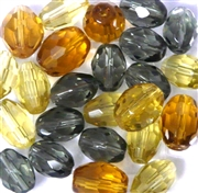 10pc Glass Firepolish Ovals Topaz Black Diamond Mix