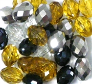 10pc Glass Firepolish Ovals Topaz Silver Mix