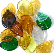 10pc Glass leaves Assorted Topaz Green
