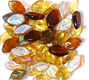10pc czech glass leaves 13x7mm topaz mix