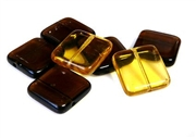 4pc czech glass squares brown mix