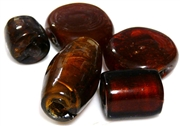 3pc indian glass assorted beads smokey topaz