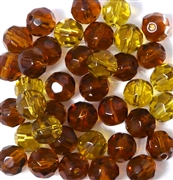 10pc 8mm Glass Firepolish Round Topaz Brown Mix