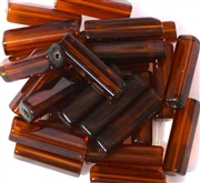 10pc 20x6mm Glass Tubes Smokey Topaz