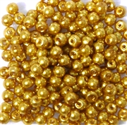 50pc 4mm Assorted Glass Pearls Gold