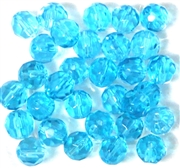 10pc 8mm Glass Firepolish Rounds Aqua Blue