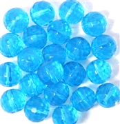 6pc 12mm Glass Faceted Rounds Aquamarine Blue