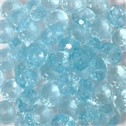 10pc 8mm Glass Firepolish Crystal Donut Aquamarine Blue