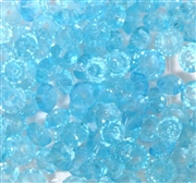 50pc 6mm Glass Firepolish Crystal Saucer Aquamarine Blue