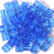 8pc 8mm Glass Faceted Crystal Cube Sapphire Blue