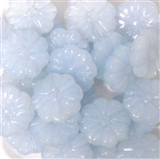 10pc 15mm Glass Flower Beads Milky Sapphire Blue