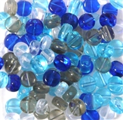 25pc 6mm Glass Coin Beads Aqua Mix