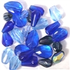 10pc 8-15mm Firepolish Ovals Sapphire Blue Mix