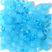 25pc 6mm Firepolish Diamond Milky Blue Aqua Mix