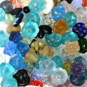 10pc 4-8mm Pressed Glass Assorted Flowers Blue Mix