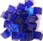 10pc 12mm Glass Cubes Sapphire Blue Mix